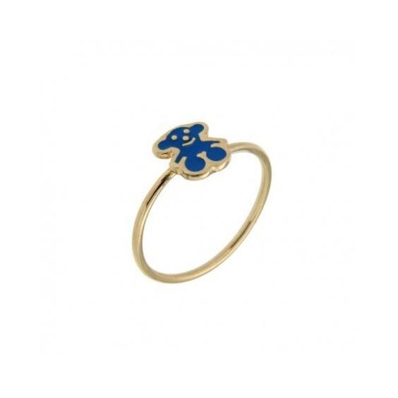 Bague réglable ourson bleu plaqué or et émail - La Petite Française