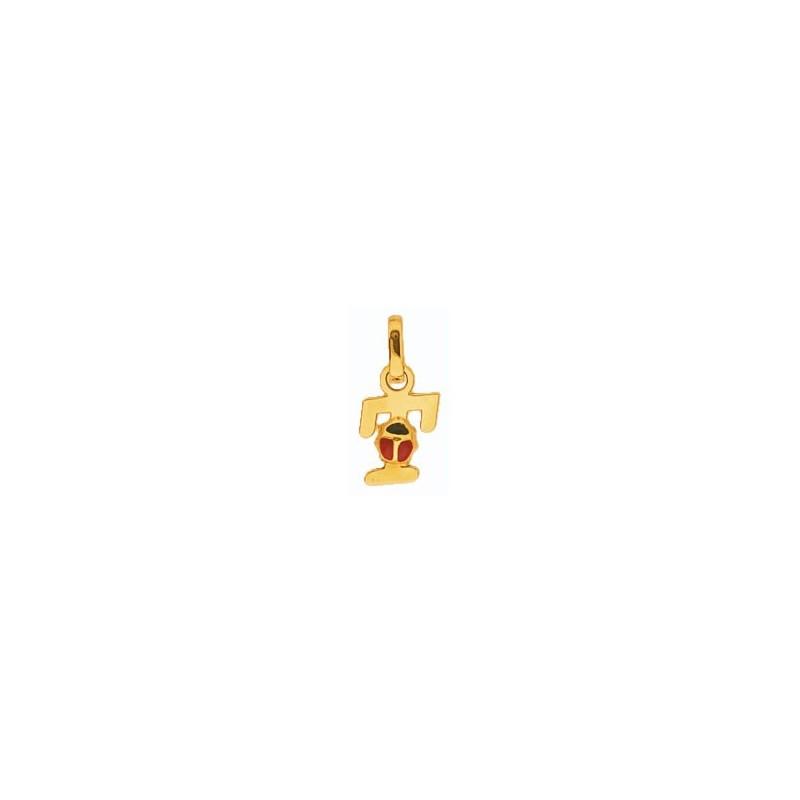 Pendentif coccinelle lettre T Or 18 carats jaune - La Petite Française