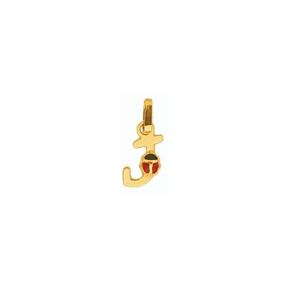 Pendentif coccinelle lettre J Or 18 carats jaune - La Petite Française