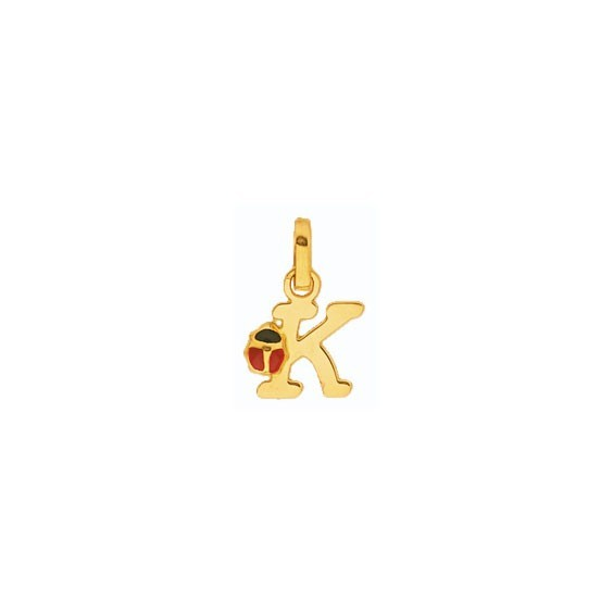 Pendentif coccinelle lettre K Or 18 carats jaune - La Petite Française