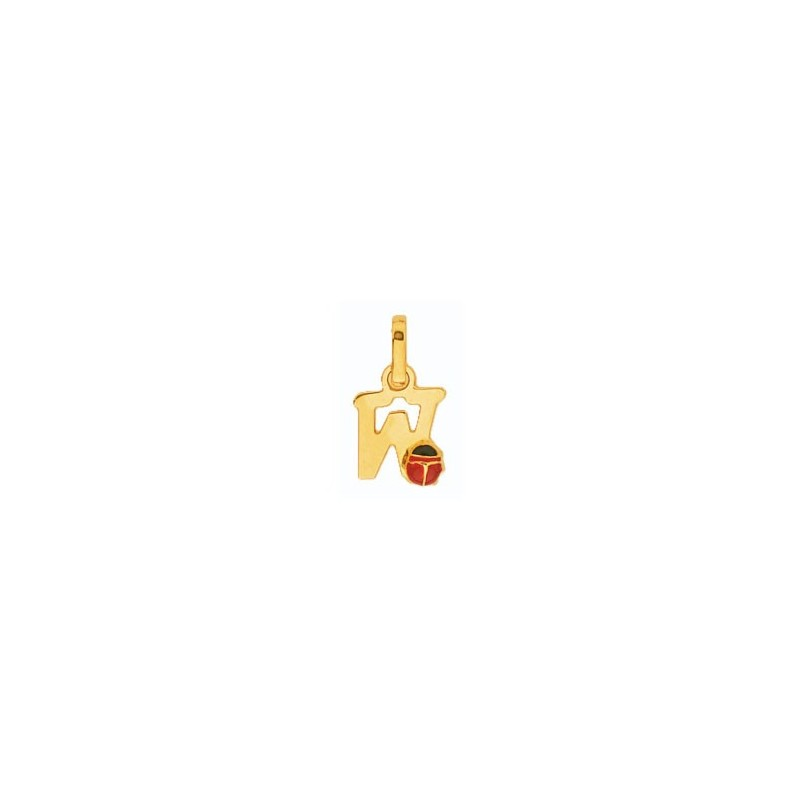Pendentif coccinelle lettre W Or 18 carats jaune - La Petite Française