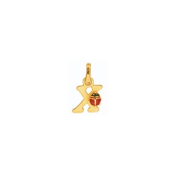 Pendentif coccinelle lettre X Or 18 carats jaune - La Petite Française