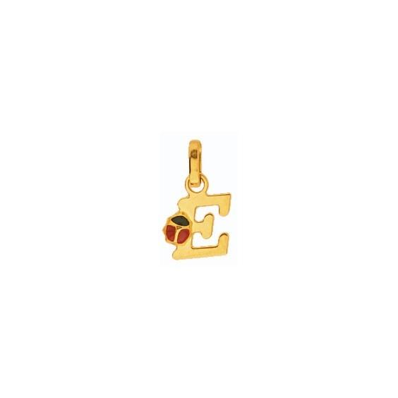 Pendentif coccinelle lettre E Or 18 carats jaune - La Petite Française