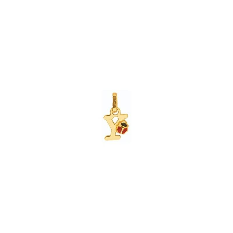 Pendentif coccinelle lettre Y Or 18 carats jaune - La Petite Française