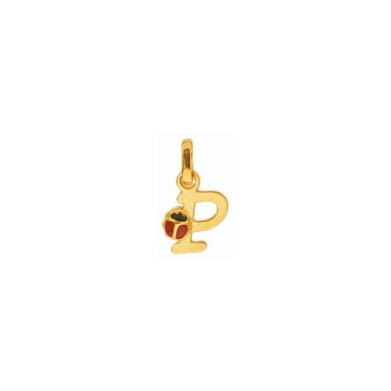 Pendentif coccinelle lettre P Or 18 carats jaune - La Petite Française