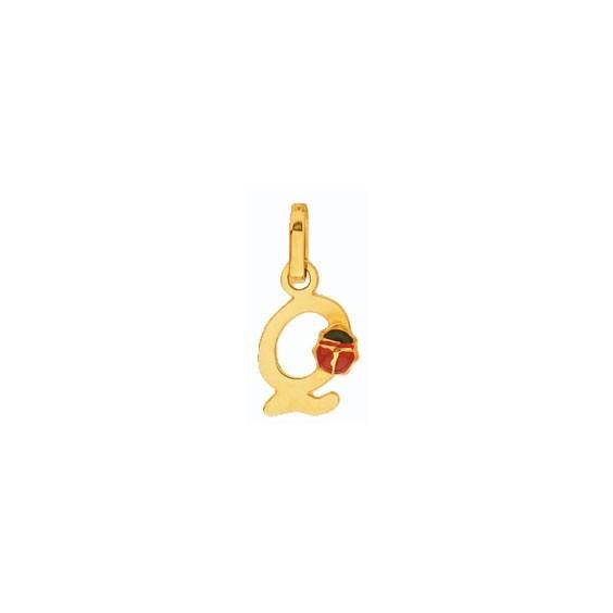 Pendentif coccinelle lettre Q Or 18 carats jaune - La Petite Française