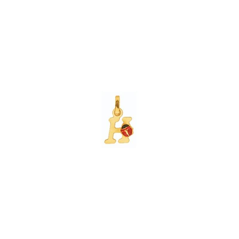 Pendentif coccinelle lettre H Or 18 carats jaune - La Petite Française