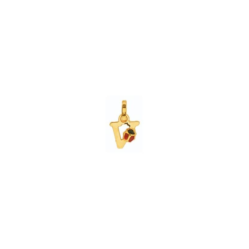 Pendentif coccinelle lettre V Or 18 carats jaune - La Petite Française