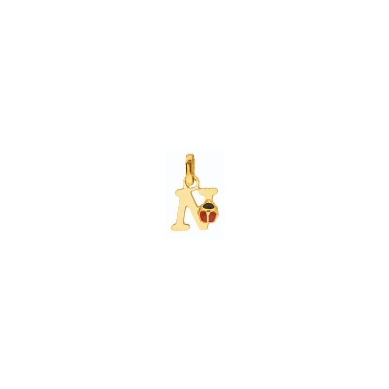 Pendentif coccinelle lettre N Or 18 carats jaune - La Petite Française