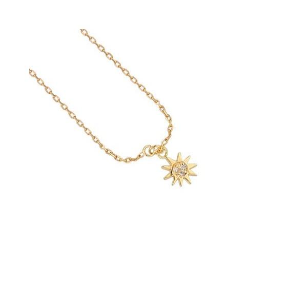 Chaîne cheville soleil plaqué or et zirconium - La Petite Française