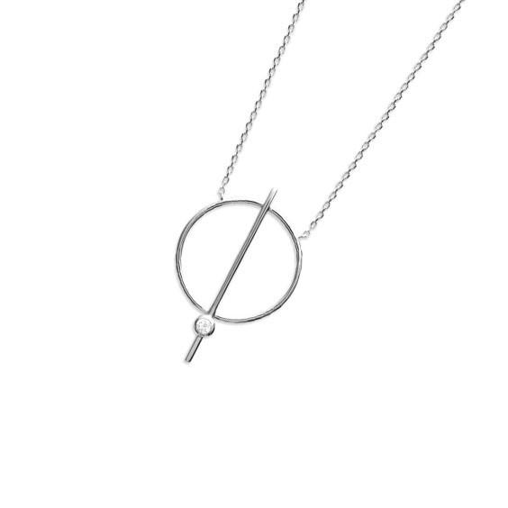Collier cercle et tige argent et zirconium - La Petite Française