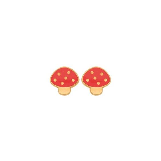 Boucles d'oreilles champignon or 9 carats jaune
