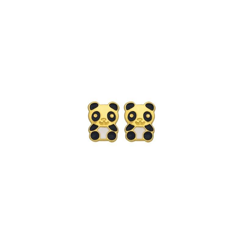 Boucles d'oreilles panda or 9 carats jaune