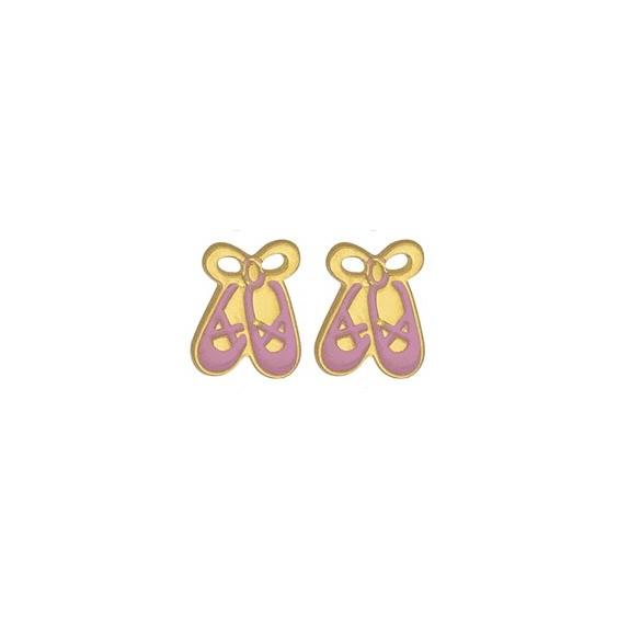 Boucles d'oreilles chaussons de danseuse or 18 carats jaune