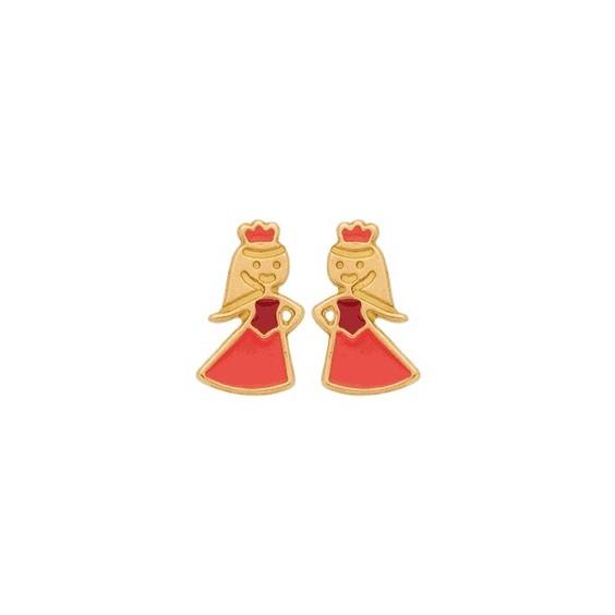 Boucles d'oreilles jolie princesse or 18 carats jaune