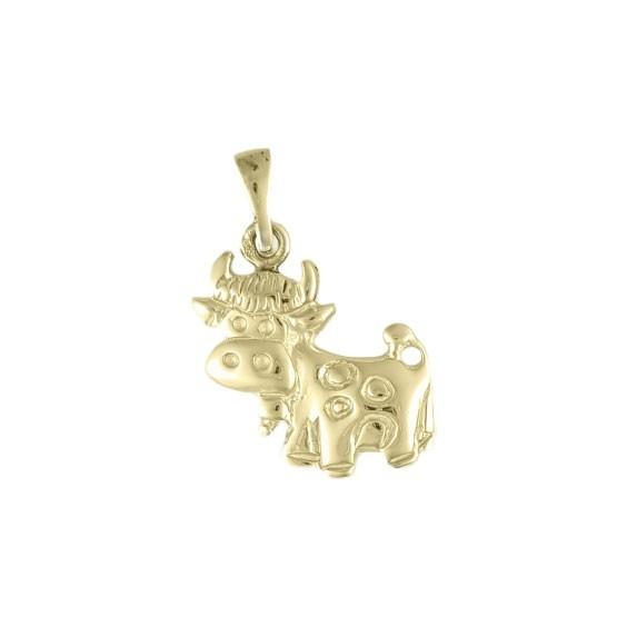 Pendentif vache avec sa cloche Or 9 carats jaune