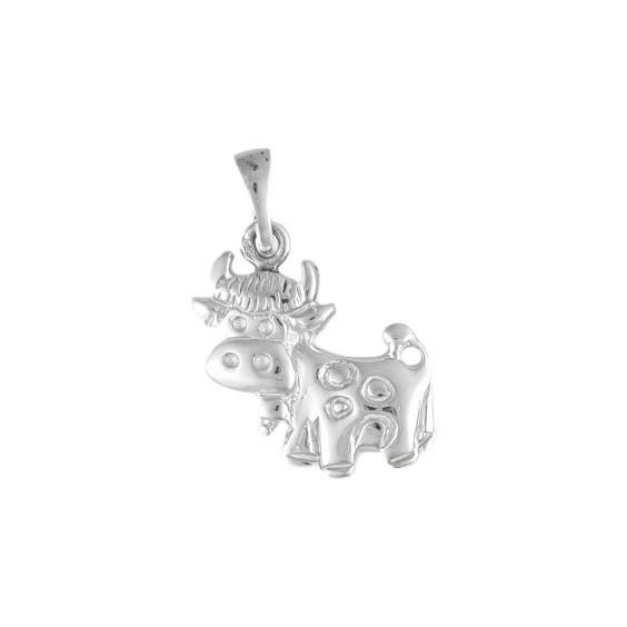 Pendentif vache avec sa cloche Or 9 carats gris