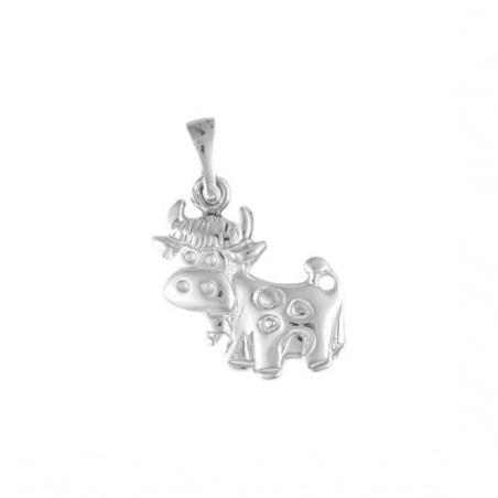 Pendentif vache avec sa cloche argent