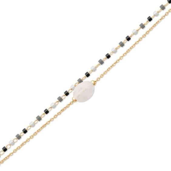 Bracelet double rang Miyuki et pierre de lune plaqué or