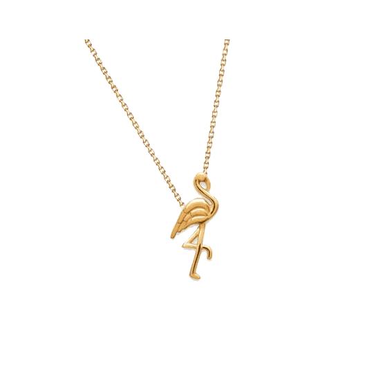 Collier oiseau flamant plaqué or
