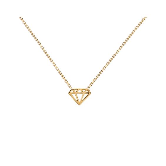 Collier diamant découpé plaqué or