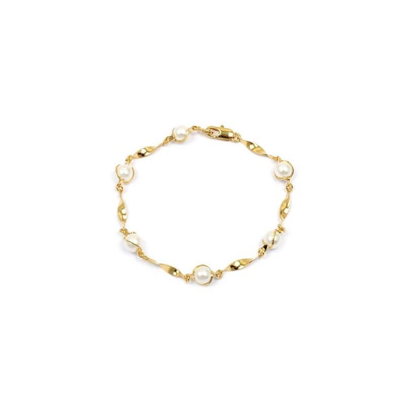 Bracelet torsades en plaqué or 6 perles - La Petite Française