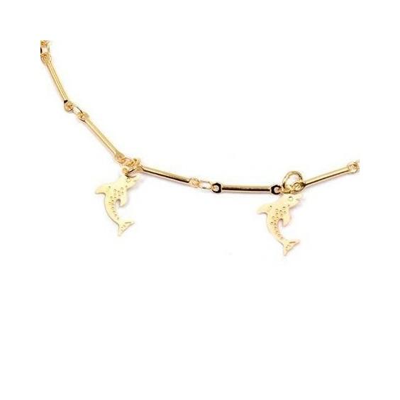 Bracelet charm's dauphins en plaqué or