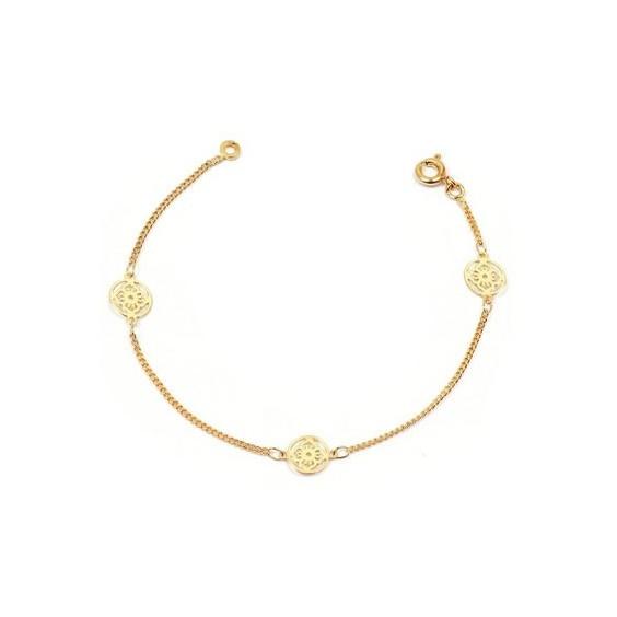 Bracelet filigrane fleur en plaqué or