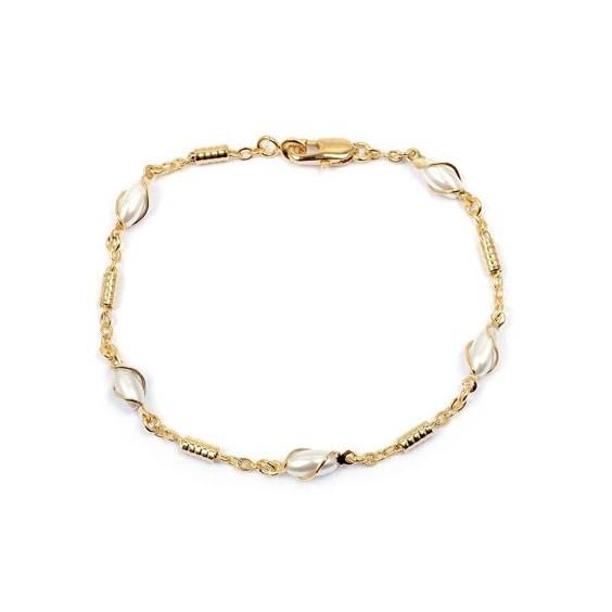 Bracelet perles ovales en plaqué or