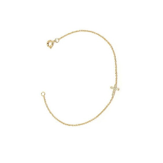 Bracelet croix zirconiums en plaqué or
