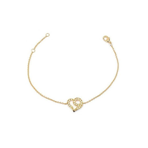 Bracelet coeurs zirconiums en plaqué or