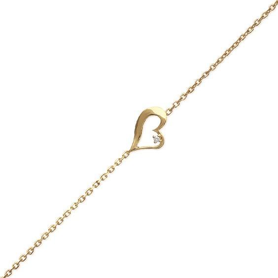 Bracelet coeur plaqué or et zirconium - La Petite Française