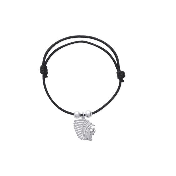 Bracelet cordon tête indien argent - La Petite Française