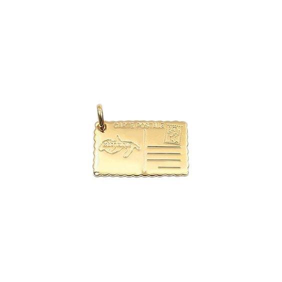 Pendentif carte postale Martinique en plaqué or