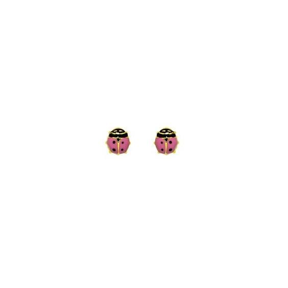 Boucles d'oreilles coccinelles roses Or 18 carats - La Petite Française