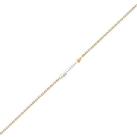 Bracelet flèche plaqué or et zirconiums