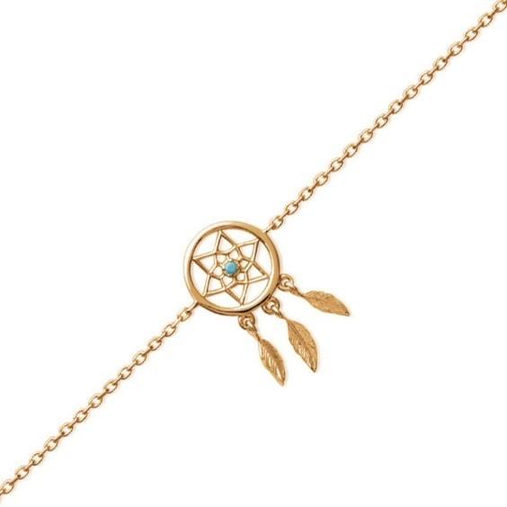 Bracelet attrape-rêves plaqué or, turquoise, 3 plumes - La Petite Française