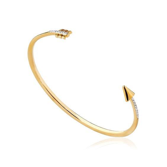 Bracelet jonc ouvert plaqué or et zirconiums flèche - La Petite Française