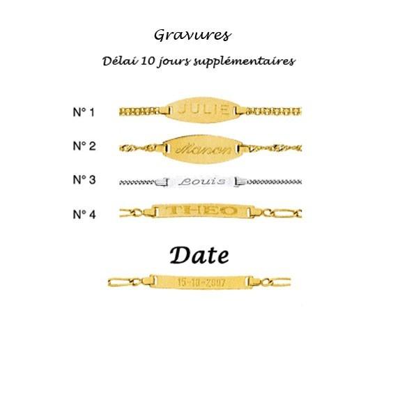 Gourmette identité bébé singapour Or 18 carats jaune