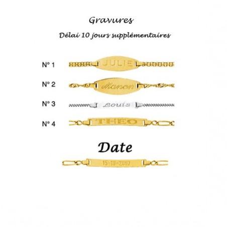 Gourmette identité bébé striée Or 18 carats jaune