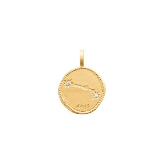Pendentif constellation bélier plaqué or et zirconiums - La Petite Française