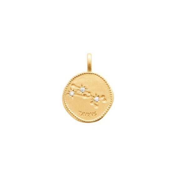 Pendentif constellation taureau plaqué or et zirconiums - La Petite Française