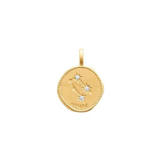 Pendentif constellation gémeaux plaqué or et zirconiums - La Petite Française