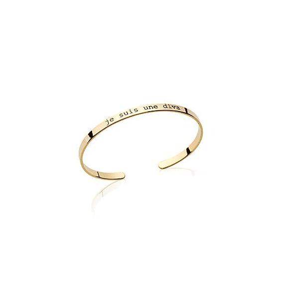 Bracelet jonc message JE SUIS UNE DIVA plaqué or - La Petite Française