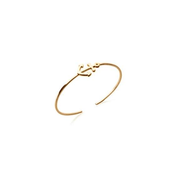Bracelet jonc ouvert plaqué or ancre - 20 MM - La Petite Française