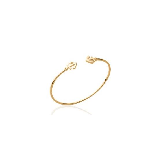 Bracelet jonc ouvert dessus plaqué or 2 ancres - La Petite Française