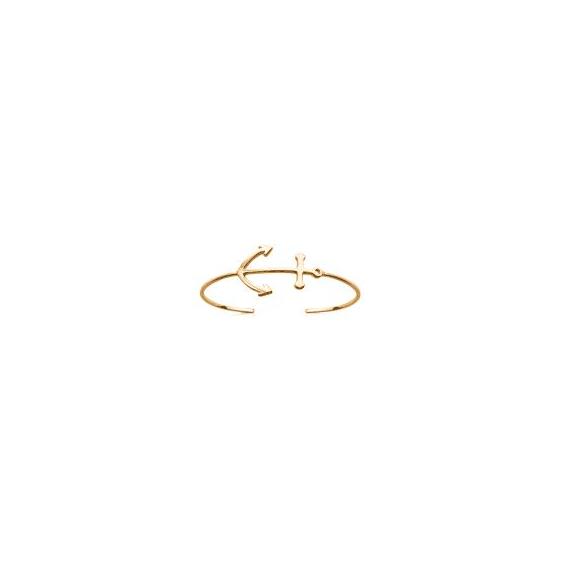 Bracelet jonc ouvert plaqué or ancre - 30 MM - La Petite Française