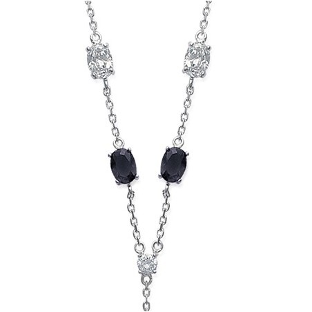Collier cravate pierres noires et blanches argent  - La Petite Française