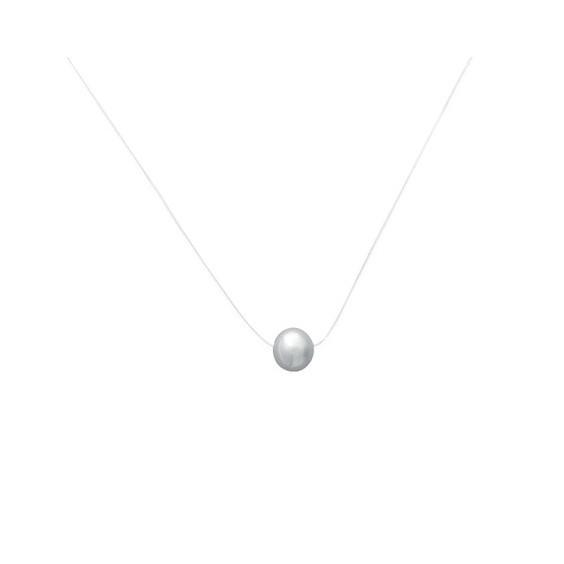 Collier fil transparent perle Biwa et argent  - La Petite Française