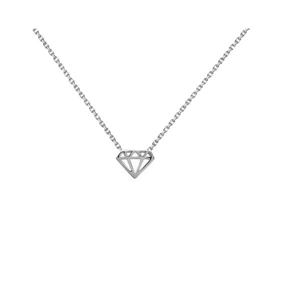 Collier diamant découpé argent  - La Petite Française